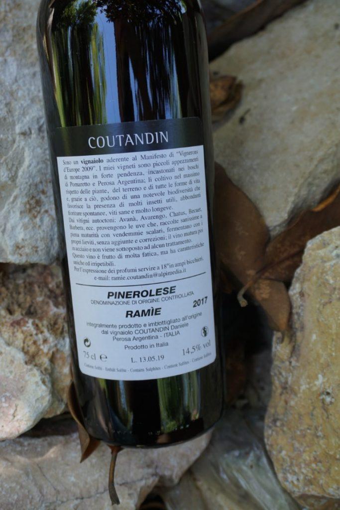 Ramié vino rosso Pinerolese DOC Daniele Coutandin retro etichetta